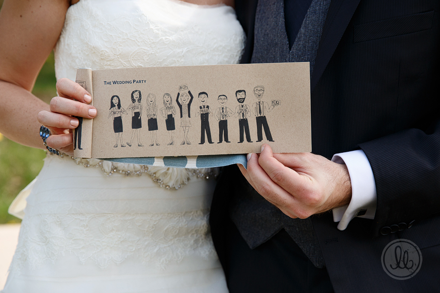 hand drawn wedding party program